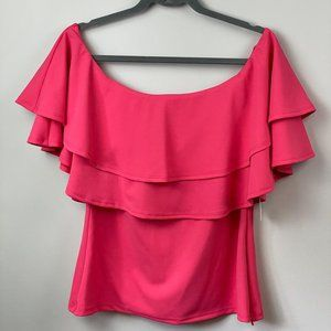 FTF Off The Shoulder Double Ruffle Pink Top Plus S